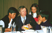 Peter Hübner with Peruvian children