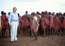 Peter Hübner with Massai warriors